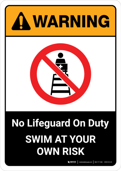 Warning: No Lifeguard on Duty with Icon ANSI Portrait - Wall Sign