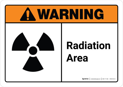 Warning: Radiation Area with Icon ANSI Landscape - Wall Sign