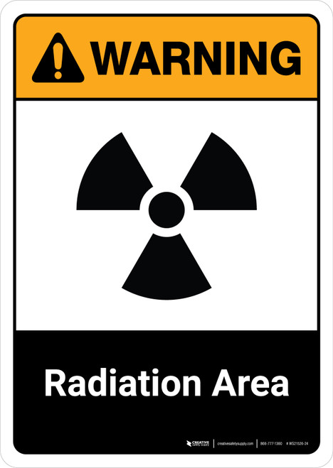 Warning: Radiation Area with Icon ANSI Portrait - Wall Sign