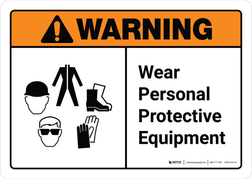 Warning: Wear Personal Protective Equipment with Icons ANSI Landscape - Wall Sign