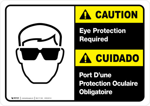 Caution: Eye Protection Required Bilingual with Icon ANSI Landscape - Wall Sign