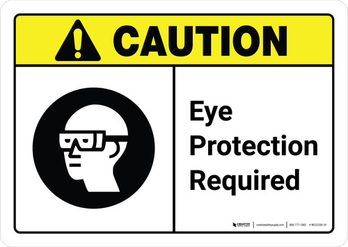 Caution: Eye Protection Required with Icon ANSI Landscape - Wall Sign