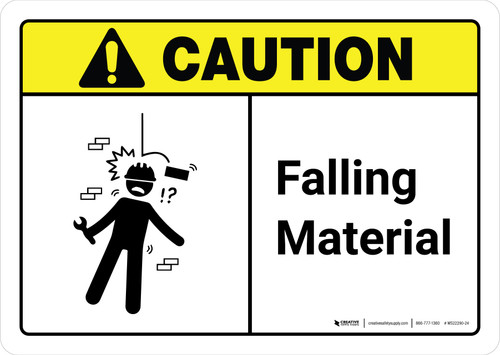 Caution: Falling Material with Icon ANSI Landscape - Wall Sign