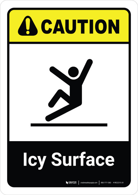 Caution: Icy Surface with Icon ANSI Portrait - Wall Sign
