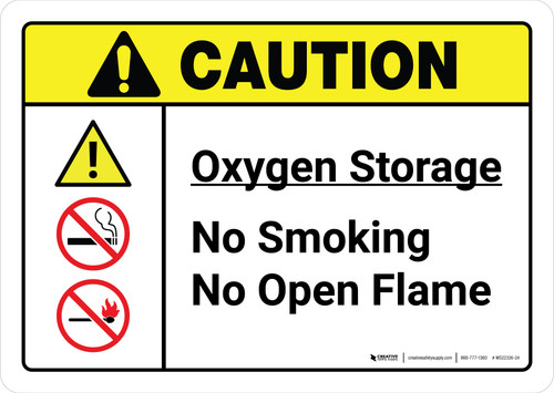 Caution: Oxygen Storage No Smoking No Open Flame with Icons ANSI Landscape - Wall Sign