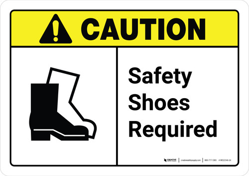Caution: Safety Shoes Required with Icon ANSI Landscape - Wall Sign