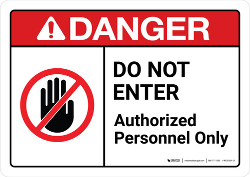 Danger: Do Not Enter Authorized Personnel Only Sign with Icon ANSI Landscape - Wall Sign