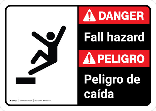 Danger: Fall Hazard Bilingual with Icon ANSI Landscape - Wall Sign