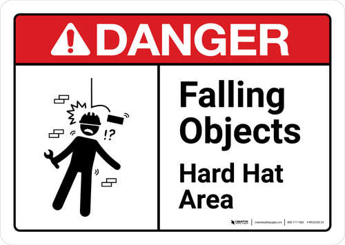 Danger: Falling Objects Hard Hat Area with Icon ANSI Landscape - Wall Sign