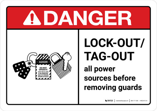 Danger: Lock Out Tag Out Before Removing Guards with Icon ANSI Landscape - Wall Sign