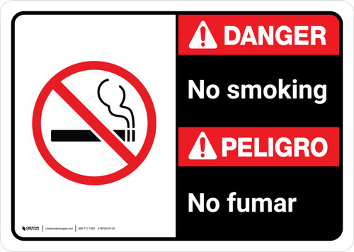 Danger: No Smoking Bilingual with Icon ANSI Landscape - Wall Sign