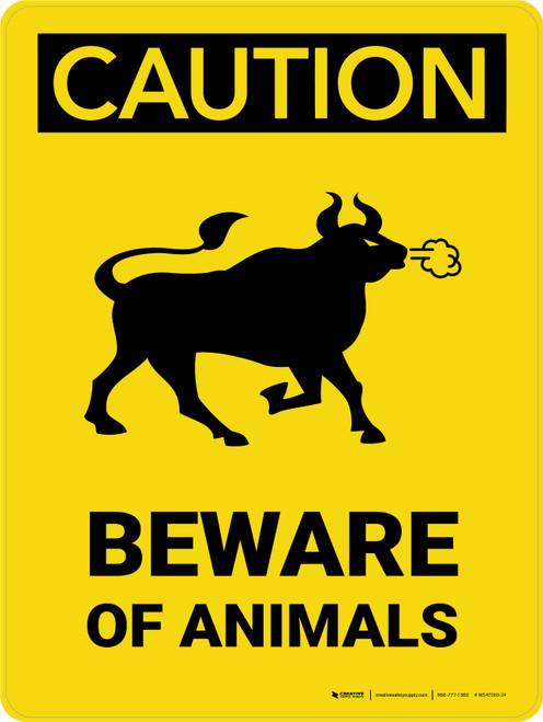 Caution: Beware Of Animals Portrait - Wall Sign