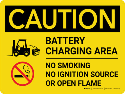 Caution: Battery Charging Area Forklift No Smoking Open Flame Landscape - Wall Sign