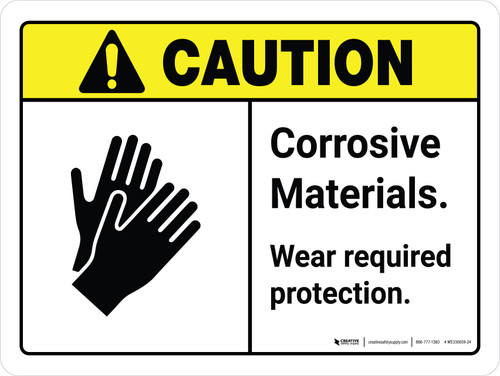 Caution: Corrosive Materials Wear Protection White with Icon Landscape - Wall Sign