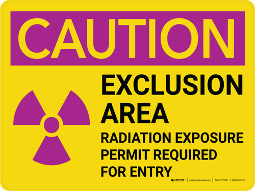Caution: Exclusion Area Radiation with Icon Landscape - Wall Sign