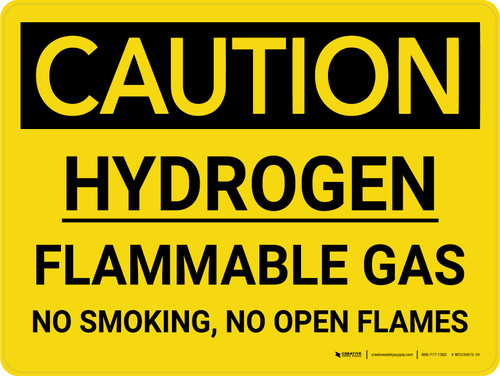 Caution: Hydrogen - Flammable Gas No Smoking/No Open Flames Landscape - Wall Sign