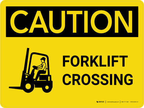 Caution: Forklift Crossing with Icon on Left Landscape - Wall Sign