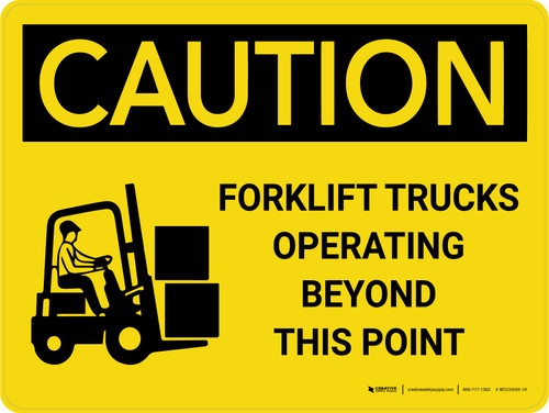 Caution: Forklift Trucks Operating Beyond Point with Icon Landscape - Wall Sign