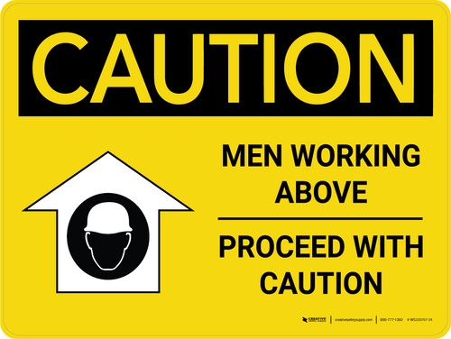 Caution: Men Working Above Proceed With Caution Landscape - Wall Sign
