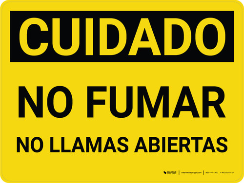 Caution: No Smoking No Open Flames Spanish Landscape - Wall Sign