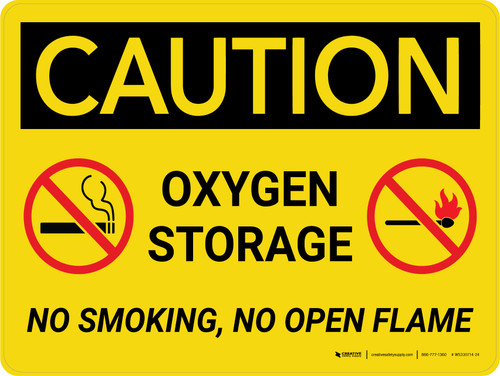 Caution: Oxygen Storage No Smoking Open Flame with Graphic Landscape - Wall Sign