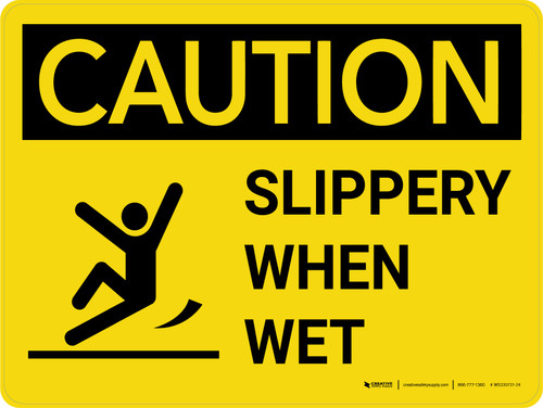 Caution: Slippery When Wet with Icon Landscape - Wall Sign