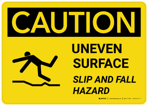 Caution: Uneven Surface - Slip and Fall Hazard with Icon Landscape - Wall Sign