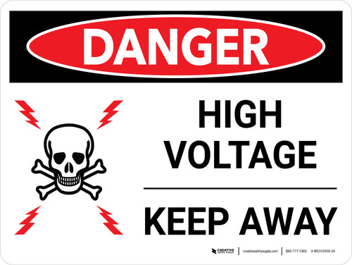 Danger: High Voltage - Keep Away with Icon Landscape - Wall Sign