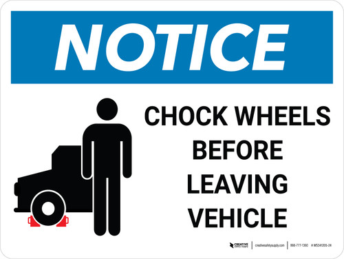 Notice: Chock Wheels Before Leaving Vehicle with IconLandscape - Wall Sign