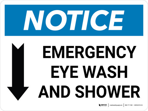 Notice: Emergency Eye Wash and Shower with Arrow Down Icon Landscape - Wall Sign