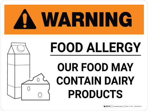 Warning: Food Allergy Food May Contain Dairy with Icon Landscape - Wall Sign