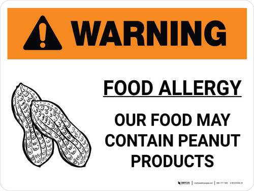 Warning: Food Allergy Food May Contain Peanuts with Icon Landscape - Wall Sign