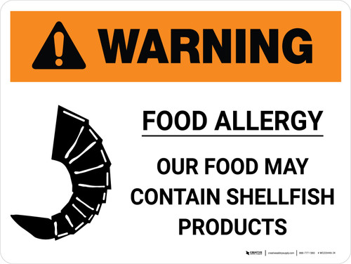 Warning: Food Allergy Food May Contain Shellfish Products Landscape - Wall Sign