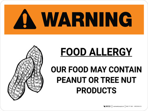 Warning: Food Allergy Our Food May Contain Peanut Tree Nut Products with Icon Landscape - Wall Sign