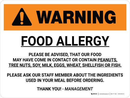 Warning: Food Allergy Please be Advised Landscape - Wall Sign