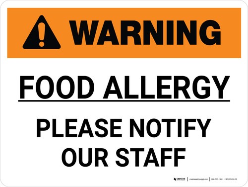 Warning: Food Allergy Please Notify Our Staff Landscape - Wall Sign
