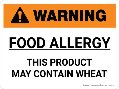 Warning: Food Allergy Product May Contain Wheat Landscape - Wall Sign