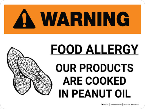 Warning: Food Allergy Products Cooked in Peanut Oil with Icon Landscape - Wall Sign