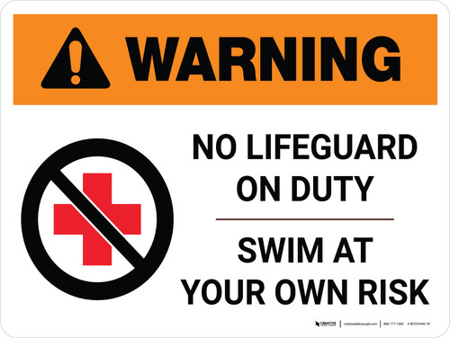 Warning: No Lifeguard on Duty Swim at Own Risk with Icon Landscape - Wall Sign