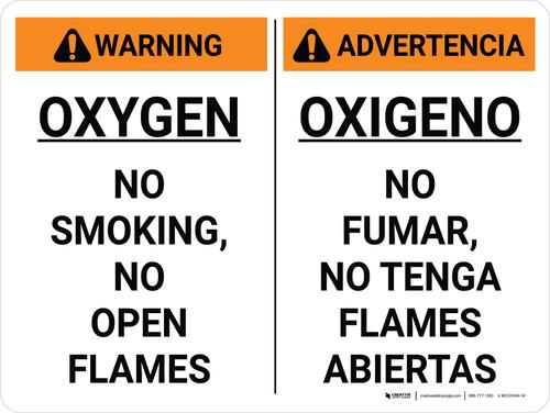 Warning: Oxygen No Smoking No open Flames Bilingual Spanish Landscape - Wall Sign