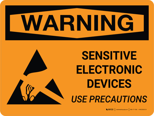 Warning: Sensitive Electronic Devices Use Precautions Landscape - Wall Sign