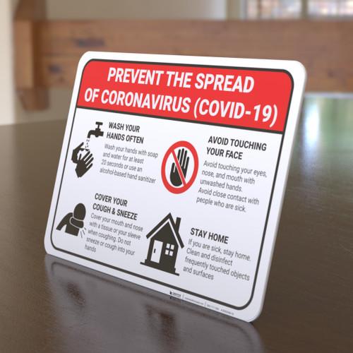 Prevent the Spread of Coronavirus - Desktop Sign