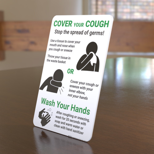 Cover Your Cough - Stop the Spread of Germs - Desktop Sign