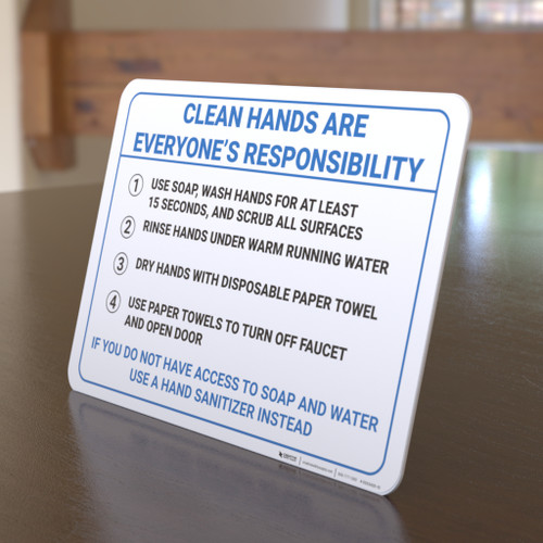 Clean Hands are Everyone's Responsibility - Desktop Sign