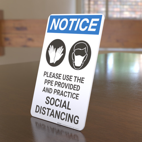 Notice: Please Use the PPE Provided and Practice Social Distancing with Icons Portrait - Desktop Sign
