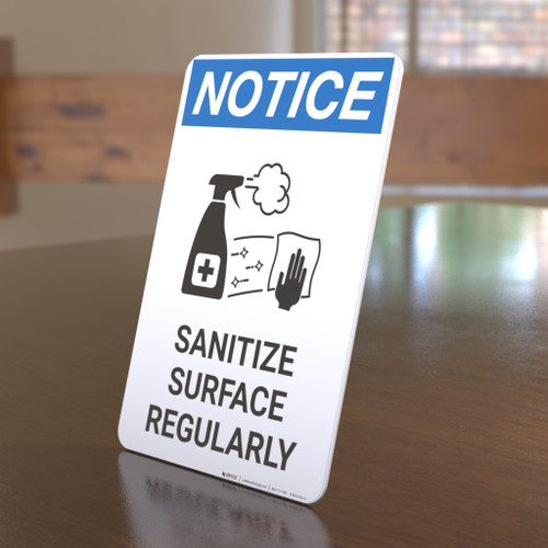 Notice: Sanitize Surface Regularly with Icon Portrait - Desktop Sign