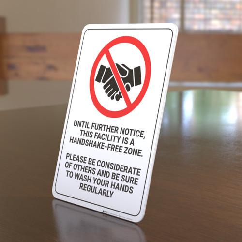 Handshake-Free Zone - Desktop Sign
