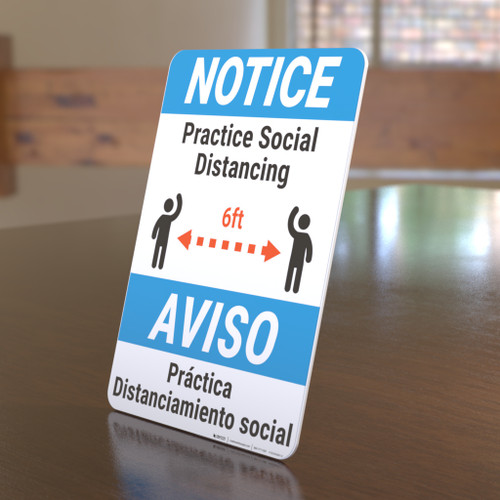 Notice: Practice Social Distancing Spanish Bilingual Portrait - Desktop Sign