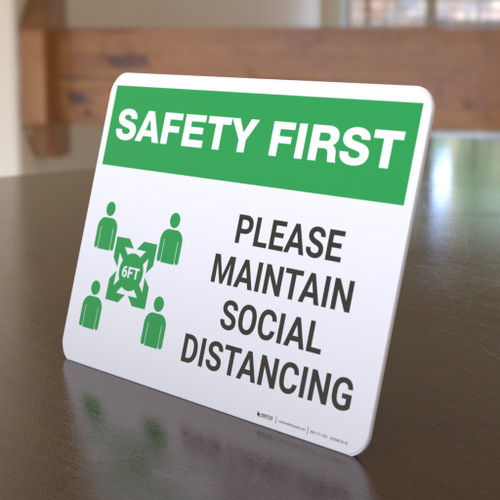 Safety First: Please Maintain Social Distancing with Icon Landscape - Desktop Sign