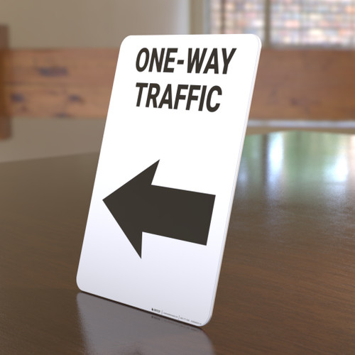 One-Way Traffic Left Arrow Portrait - Desktop Sign